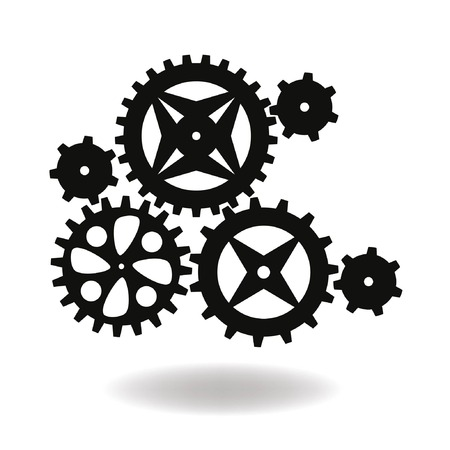 time drive: Vector gearwheel mechanism icon