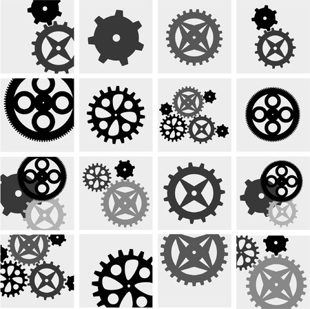 Gears and cogs mechanic and engineering black