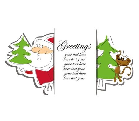 clauses: Christmas card with santa clauses and symbol