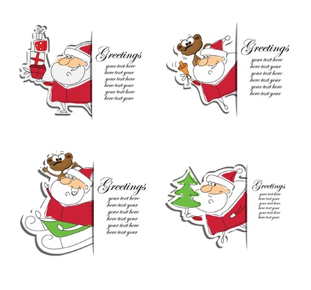 clauses: Christmas set of santa clauses cards Illustration