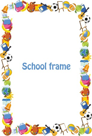 teaching children: Cartoon students and school stuffs, banner frame Illustration