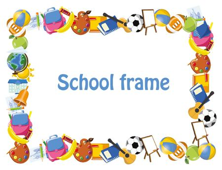 school backpack: Cartoon students and school stuffs, banner frame Illustration