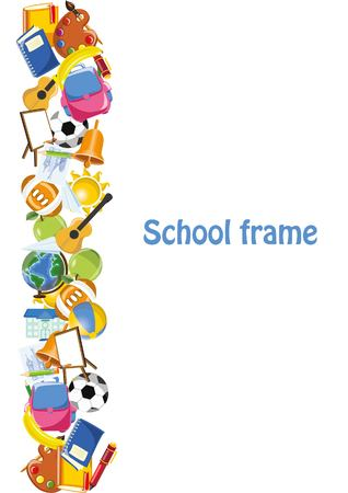 escuela infantil: Estudiantes de dibujos animados y las materias escolares, marco de la bandera