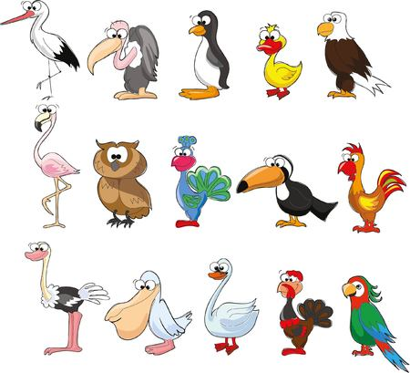 flamingos: Set of cute cartoon birds Illustration