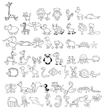 Children's drawings of animals 向量圖像