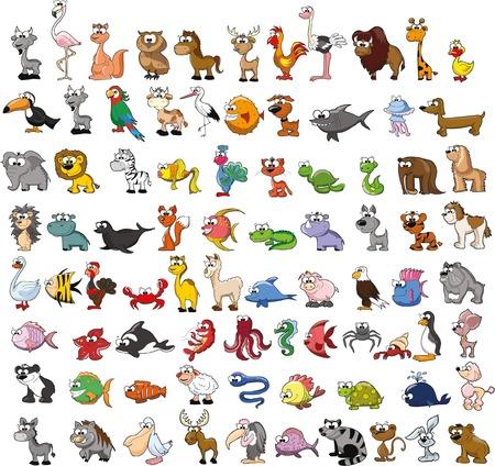 cute animals: Set of cute cartoon animals
