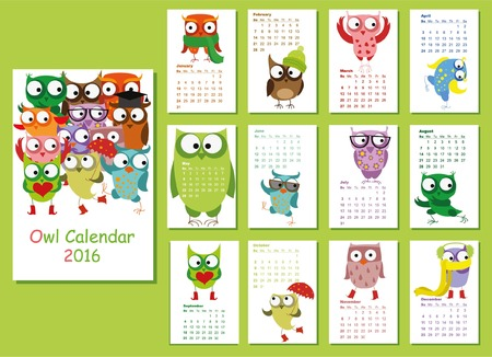 cute animals: Calendar 2016. Cute owls for every month. Illustration