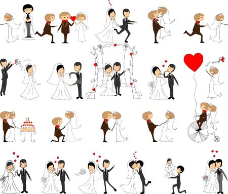 Set of wedding pictures, bride and groom in love Ilustracja
