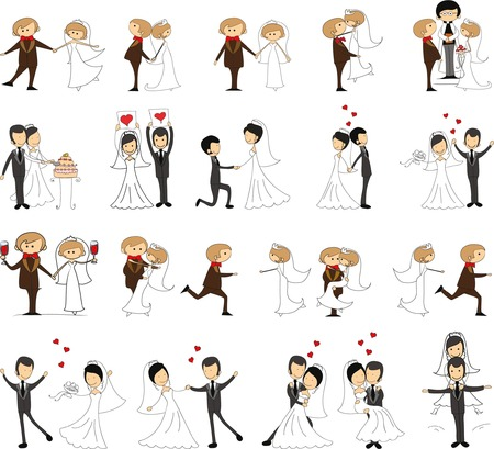 Set of wedding pictures, bride and groom in love Çizim