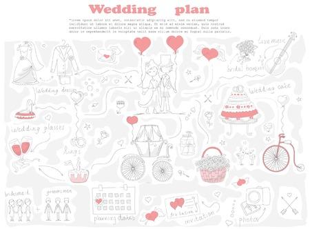Doodle line design of web banner template Ilustração