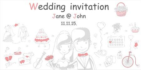 love story: Doodle line design of web banner template Illustration