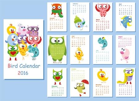 calendrier: Calendrier 2016. hiboux mignons et oiseaux pour chaque mois Illustration