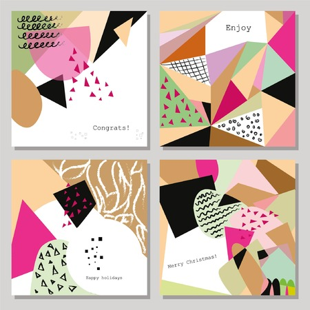 pattern geometric: Set of vector creative abstract Hand Drawn cards.