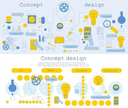 Flat line design illustration concepts for big idea