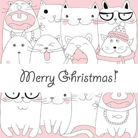 christmas greeting card: Christmas kittens on greeting card Illustration