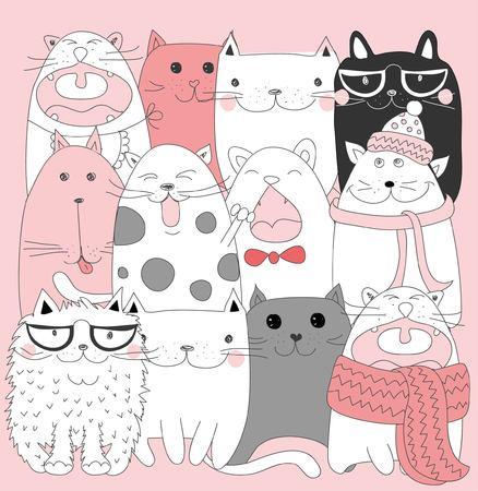 귀여운 만화 낙서 고양이의 벡터 컬렉션