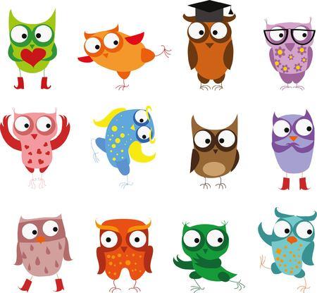 pajaro caricatura: Pájaros lindos búhos en el vector. Conjunto de dibujos animados Vectores