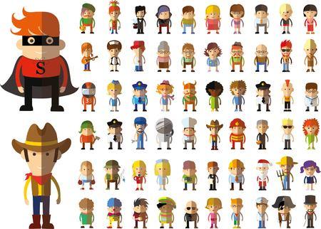 jolie fille: Ensemble de vecteur mignons icônes caractère avatar en design plat Illustration