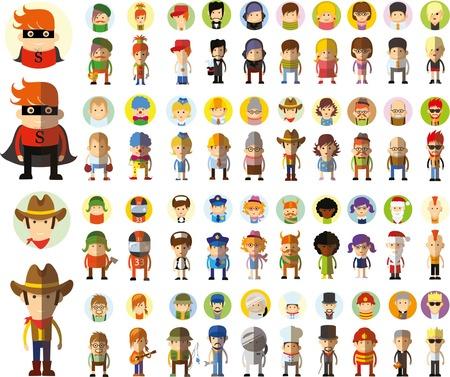 niñas bonitas: Conjunto de vector lindo personaje avatar iconos en diseño plano