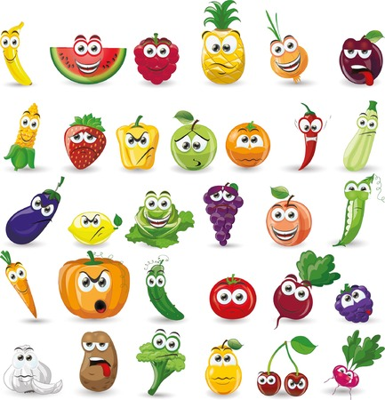 Cartoon vegetables and fruits Stock Illustratie