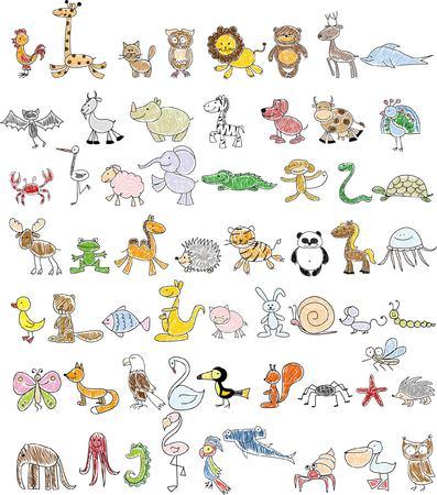 kid vector: Dibujos infantiles de animales del doodle Vectores