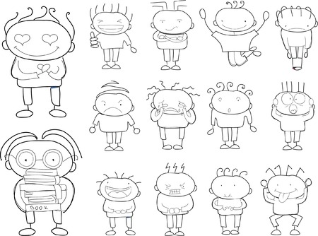vector student: Childrens drawings of doodle different emotions Illustration