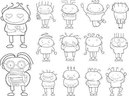 Kinderzeichnungen von doodle verschiedene Emotionen Standard-Bild - 49798505