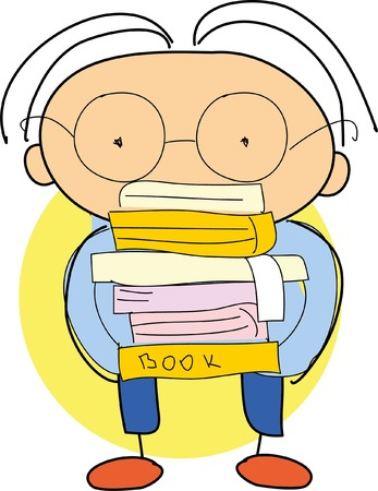 student with books: Doodle student with books