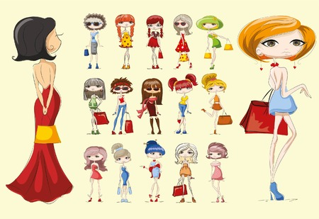 glamour model: Cartoon fashionable girls