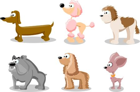 beagle terrier: Cartoon set of cute dogs Illustration