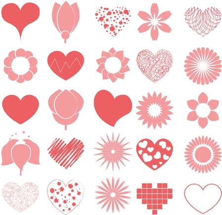 vector hearts: Vector hearts and flowers for design