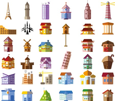church building: Set of different buildings and houses icons Illustration