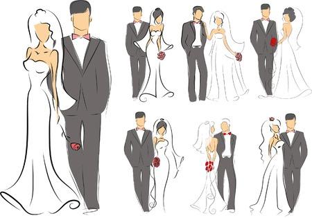 Silhouet van de bruid en bruidegom, achtergrond Stock Illustratie