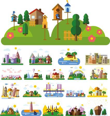 estilo urbano: Conjunto de diversos paisajes en el estilo plano - urbana