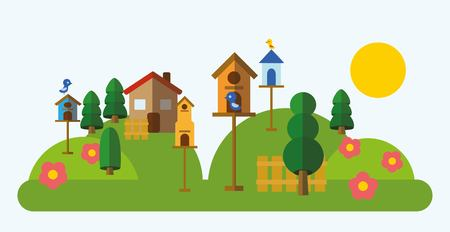 country house style: Country landscape in the flat style with nesting-boxes Illustration