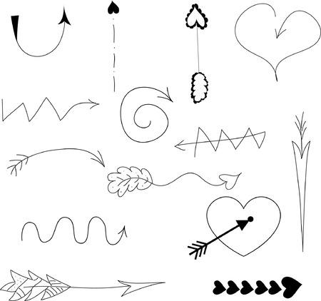 Doodle vector pijlen Stock Illustratie