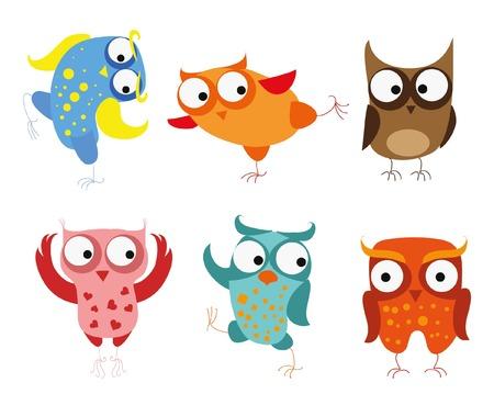 symbol of peace: Set of vector cartoon birds - owls Illustration
