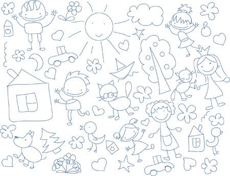 ethnicity happy: Cute happy cartoon doodle kids Illustration