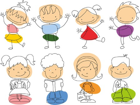 cute cartoon kids: Cute happy cartoon doodle kids Illustration
