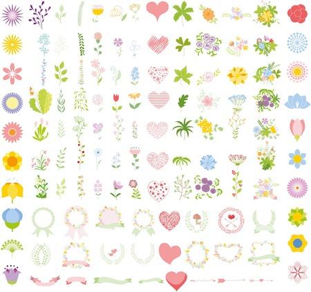 Set of wedding graphic set- wreath, flowers, arrows Ilustrace