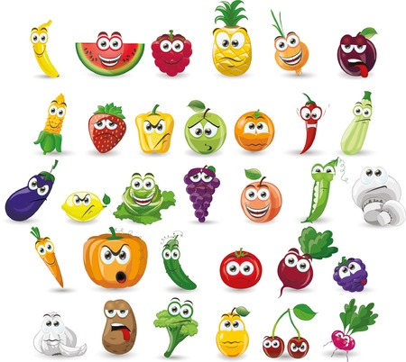 Cartoon vegetables and fruits Çizim