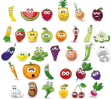 Cartoon vegetables and fruits Çizim