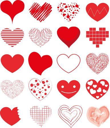 hand drawn hearts set Ilustração
