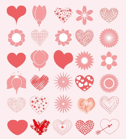 Hand getekende harten en bloemen set