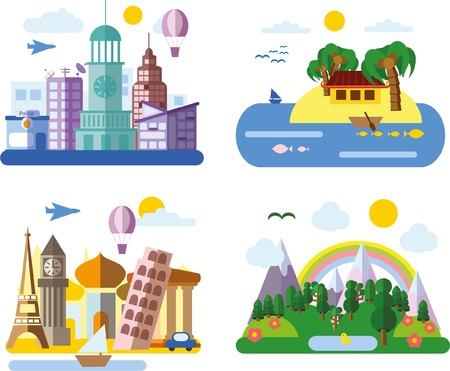 urban landscapes: Set of different landscapes in the flat style - urban Illustration