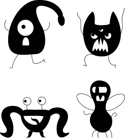 witty: Vector black and white monsters
