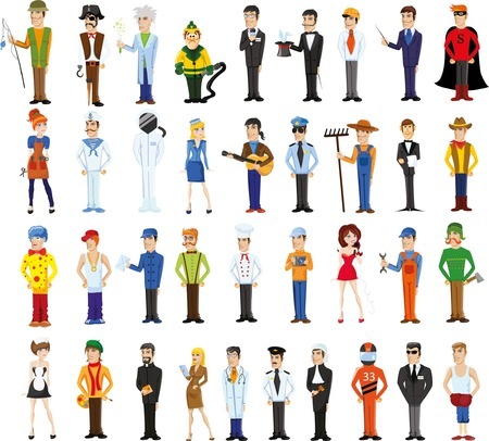 professional people: Cartoon vector characters of different professions