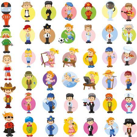 cartero: Personajes de vectores de dibujos animados de diferentes profesiones Vectores