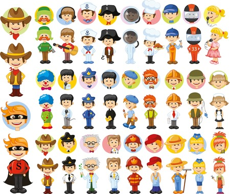 Personajes de vectores de dibujos animados de diferentes profesiones