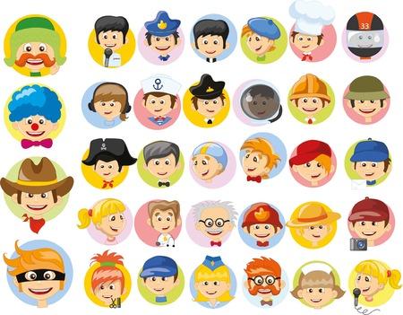 payasos caricatura: Personajes de vectores de dibujos animados de diferentes profesiones Vectores